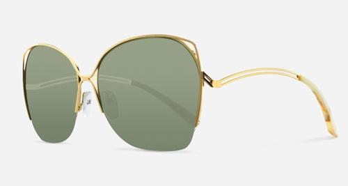 Victoria Beckham FINE WAVE GOLD EMERALD VBS96 C03 Sunglasses