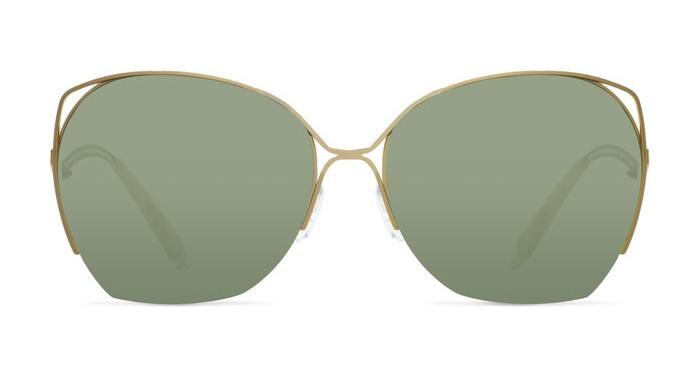 Victoria Beckham FINE WAVE GOLD EMERALD VBS96 Sunglasses
