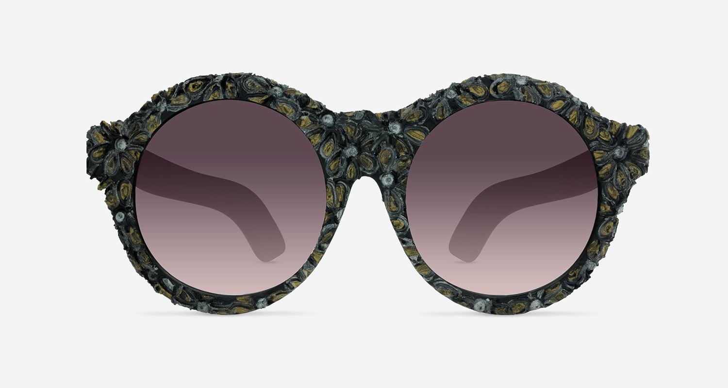 Kuboraum MASK A3 BLACK GOLD FLOWERS BM BC Sunglasses