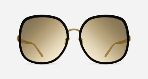 Linda Farrow LINDA FARROW 444 BLACK ALUMINIUM YELLOW GOLD C3 I Sunglasses