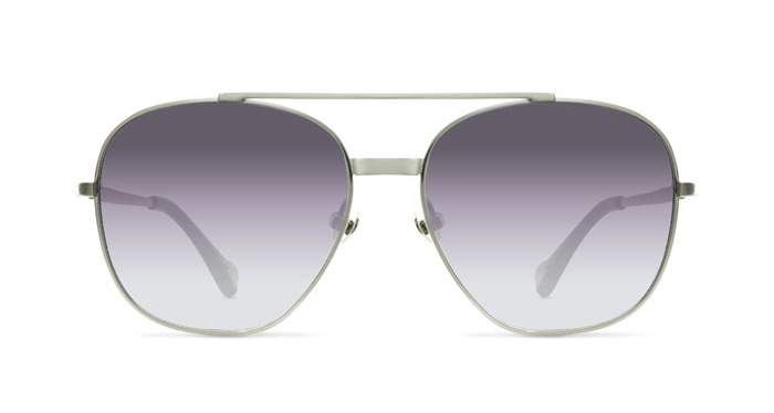 Linda Farrow ANN DEMEULEMEESTER 12 BRUSHED SILVER BLACK Sunglasses