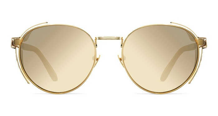 Mykita LINDA FARROW 300 YELLOW GOLD SNAKESKIN Sunglasses