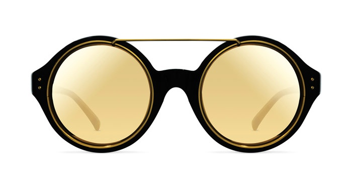 Linda Farrow LINDA FARROW 376 BLACK YELLOW GOLD Sunglasses