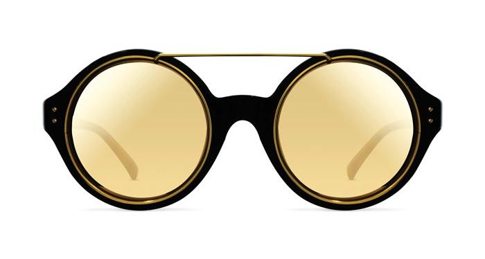 Linda Farrow LINDA FARROW 376 BLACK YELLOW GOLD Sunglasses