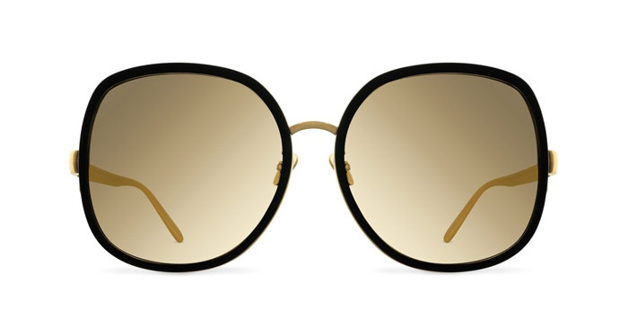 Linda Farrow LINDA FARROW 444 BLACK ALUMINIUM YELLOW GOLD Sunglasses
